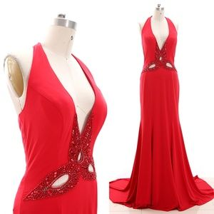 Dresses & Skirts - V Neck Jersey Formal Evening Gown Red Prom Dresses